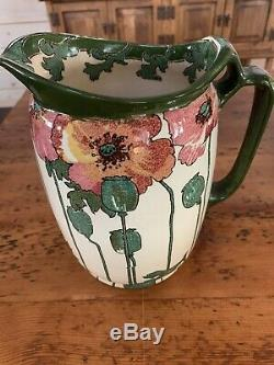 WONDERFUL Antique Royal Doulton Pitcher Jug Very Rare RED POPPIES C 1910. EXC