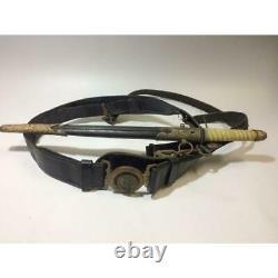 WW2 Imperial Japanese Navy Gunto Belt Very Rare Military Antique Free/Ship