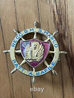 WWII Italian San Marco Royal Navy Regiment Bafile Battalion Badge 10k VERY RARE